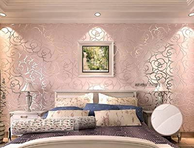 QIHANG High-grade Rose Flower Pattern Thick Flocking Embossed Textured Wallpaper Roll Pink Color 0.53m10m=5.3?