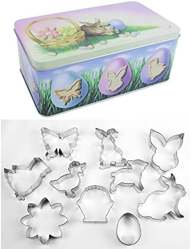 R/&M International 1967-03 Easter Cookie Cutters 10-Piece Set in Gift Tin R /& M Industries Assorted Designs