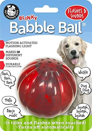 [해외]Pet Qwerks Blinky Babble Ball Interactive Dog Toy Flashes & Talks when Touched / Pet Qwerks Blinky Babble Ball Interactive Dog Toys - Flashing Motion Activated Electronic Talking Ball, Treat Toy That Lights Up & Makes Noise - Avoid...