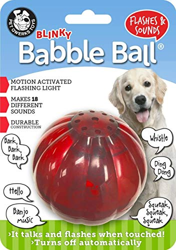 Pet Qwerks Blinky Babble Ball Interactive Dog Toys - Flashing Motion Activated Electronic Talking Ball, Treat Toy That Lights Up & Makes Noise - Avoids Boredom & Keeps Dogs Active | for Large Dogs (Dog Toys That Help With Separation Anxiety)