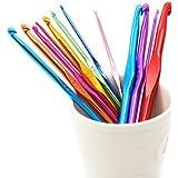 bargain house 14 Sizes Multi coloured Aluminum Crochet Hooks Needles Set 2mm-10mm