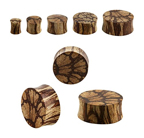 Organic Double Flared Batik Wood Plugs - Sold As Pair - Available in Multiple Sizes (8mm (0GA)) (Double Plugs Flared Wood Organic)
