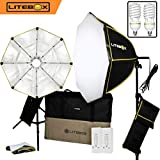 LITEBOX | Photography Softbox Lighting/Video Lighting Kit in a Box (NEW) - INCLUDES Pair of 26'' Portable Octagon Softbox Lights, 2 Professional Bulbs, 2 Stands, 2 Diffusers + FREE Travel Bag!