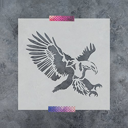 Eagle Stencil Template - Reusable Stencil of an Eagle Bird with Multiple Sizes Available by Stencil Revolution