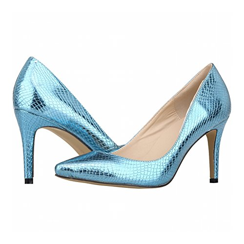 Zhuhaixmy Fashion Women Candy Color Crocodile Pattern Pointed Toe High Heels Pumps Shoes Blue vklNYD6ntm