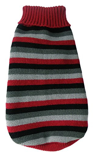 Red Dog Knit Sweater (Pet Life Polo-Casual Lounge' Cable Knit Fashion Designer Turtle Neck Pet Dog Sweater, Small, Red, Black and Grey)