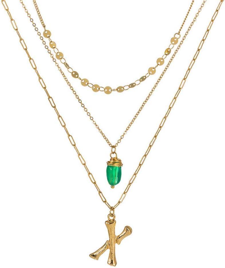 wangzz Multi Capa De Oro 26 Alfabeto Colgante Collar Verde Piedra Lentejuelas Letra Inicial Collares para Mujeres