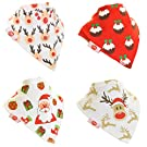 Zippy Fun Christmas Baby and Toddler Bandana Bib - Absorbent 100% Cotton Front Drool Bibs with Adjustable Snaps (4 Pack Gift Set) Unisex Red and White Christmas