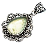 "Prehnite Pendant 1 3/4"" (925 Sterling Silver) - Handmade Jewelry PD603392"