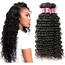Perstar Hair 8A Grade Uprocessed Brazilian virgin hair 4 Bundles Deep Wave Vigin Hair Remy Human Hair Extension Natural Color (20 22 24 26, Natural Color) …
