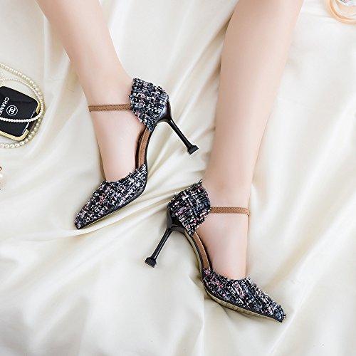 cm y Zapatos versátil femeninos singles Gris High elegante Punta 9 y de Zapatos compacto Heel 37 Del qwXSvHAnSZ