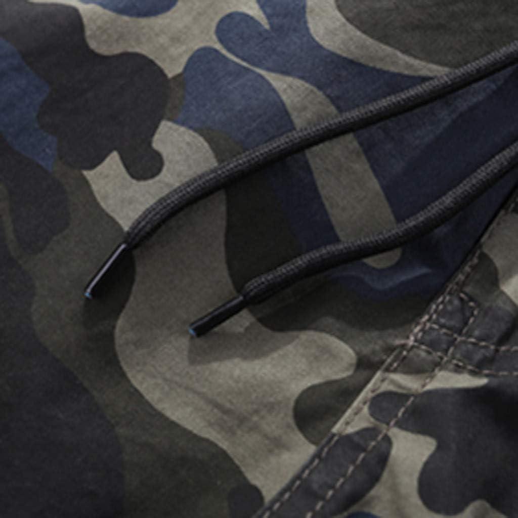 Shorts for Men,Easytoy Mens Summer Camouflage Printing Loose Belt Drawstring Beach Calf-Length Pants