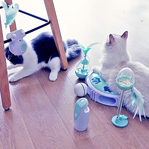 DELOMO Interactive Cat Toy, Automatic Teaser Cat Toy for Your Cat Training, Cat Squeaky Mouse Toy with Feather Bell and LED Light Stimulate Cat's Hunting Instinct 7