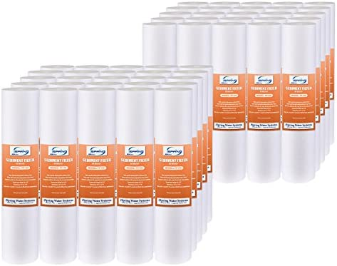 """iSpring FP110X50 10 Micron, 50 Pack 10"""" x 2.5"""" Universal Multi-layer Sediment Water Filter Replacement Cartridges, White"""