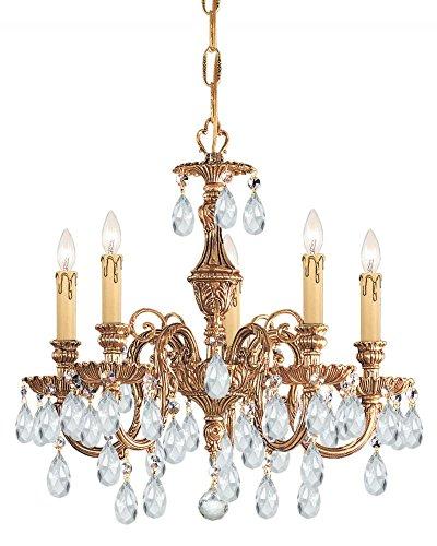 Olde Cast Brass Crystal (Olde Brass / Hand Polished Baroque 5 Light Cast Brass Crystal Chandelier)