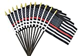 12 Pack Thin Red Line small American Flag 4x6 inch US Fireman Support