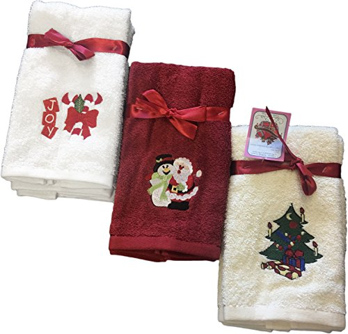 Decorative Luxury Fingetip Towel Set - 6 Piece Christmas Gift Set - Embroidered Holiday Design on Turkish Quality Cotton, 600 GSM (Santa's Collection) (Washcloth Holiday)