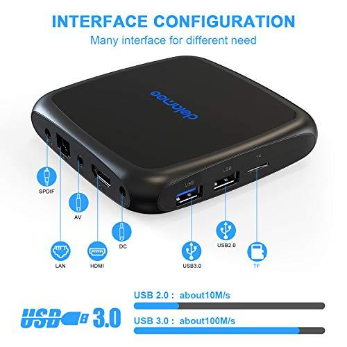 Dolamee Android TV Box 9.0-【4GB RAM+64GB ROM】4K Ultra HD Smart TV Box with Dual 2.4G&5.0G WiFi/3D/USB 3.0/Ethernet 10M/100M/HDMI,2019 Latest D18 Mini Media Player