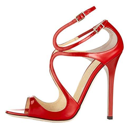 MERUMOTE - Sandalias de vestir de Material Sintético para mujer Rojo