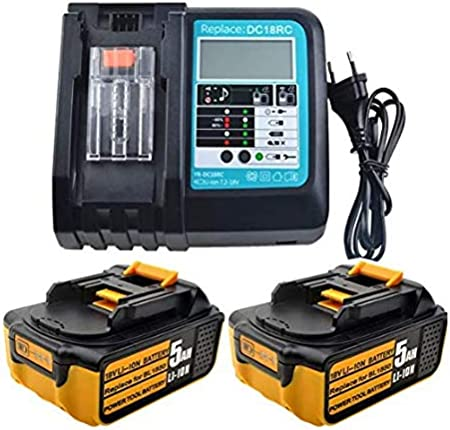2 baterías de repuesto de 18 V 5,0 Ah de iones de litio + cargador de 3 A con pantalla LED de repuesto para radio Makita DMR110 cortacésped DUR181Z taladro DHP482Z aspiradora DCL182Z