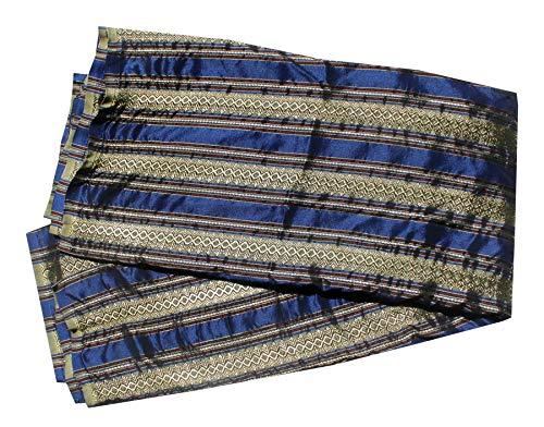 RaanPahMuang Luxurious Thailand Silk Fabric Intricate Woven Motif 39 x 140 inch, Striped - Blue Green ()