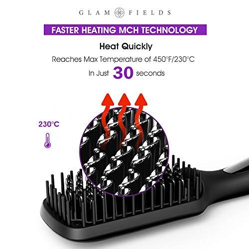 Ionic Hair Straightener Brush Upgrade 20GLAMFIELDS Electrical Heated Hair Straightening with Faster