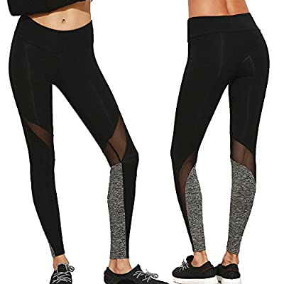 CROSS1946 Sexy Women's Striped Mesh Yoga Pants Leggings Soft Stretch Trousers Fitness Tights Gym Running