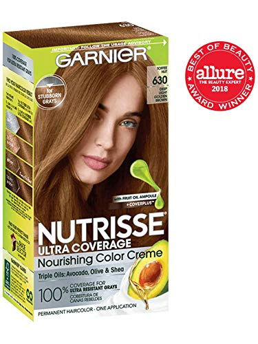 Garnier Nutrisse Ultra Coverage Hair Color, Deep Light Golden Brown (Toffee Nut) 630 (Packaging May Vary)