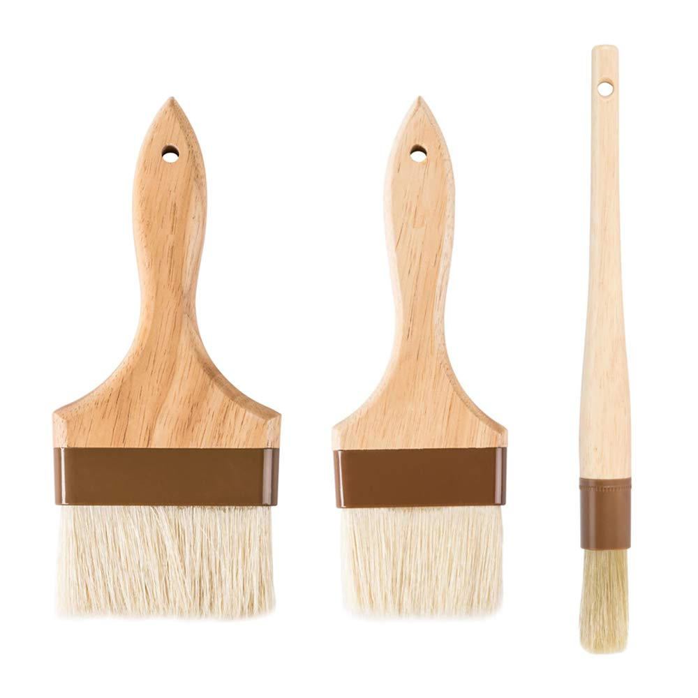 3-Piece Pastry Brush Set, 3-Inch and 4-Inch Flat Wide plus 1-Inch Round Brushes with Boar Bristles, Lacquered Hardwood Handle, Grill, BBQ Sauce Baster Baking Cooking Marinade Brushes by Tezzorio Baking Supplies