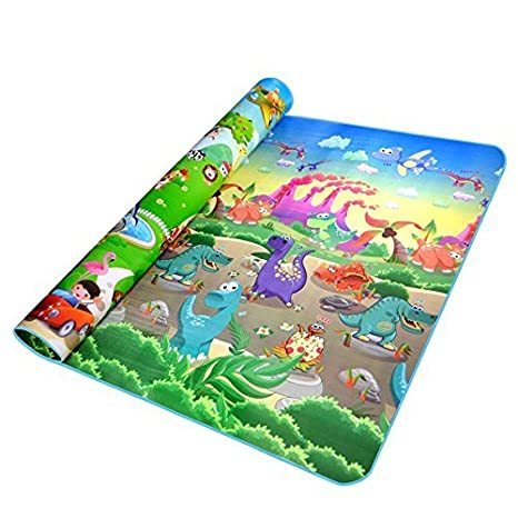 Egab Double Sided Water Proof Anti Skid Play and Crawling Mat for Babies (Multicolour, 5 x 6 ft)