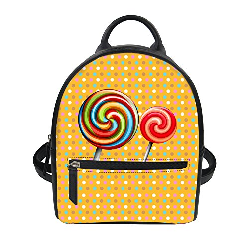 HUGS IDEA Color Lollipops Print Small Backpack Travel Lightweight Daypack Student School Shoulder Bag ()