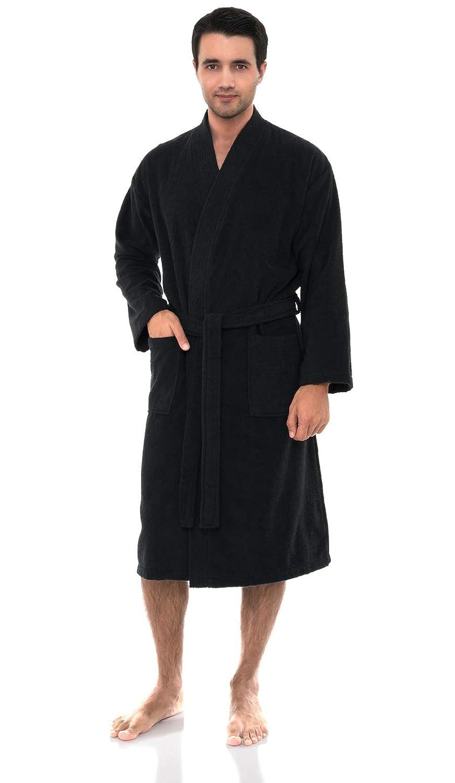 TowelSelections Mens Robe Low Twist Cotton Terry Kimono Bathrobe Made in Turkey