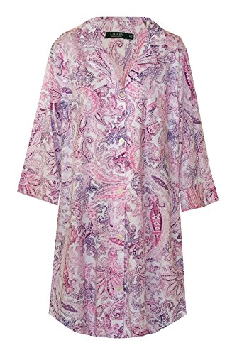 - Ralph Lauren Soft Cotton Knit Paisley Sleepshirt Nightgown (Large, White with Pink and Purple Multi Paisley Print)