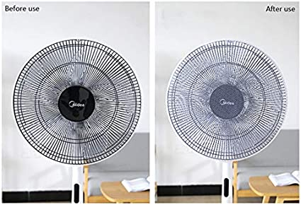 16-18Inch Washable Fan Cover Kid Baby Finger Protector with Adjustable Satety Buckle Suitable for Stand Fan Table Fan Clip Fan Homepal Fan Mesh Cover 2 Pack, Black