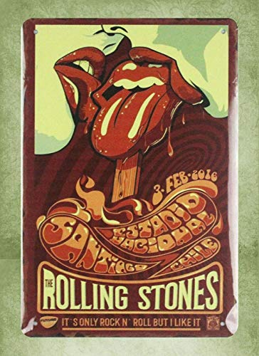 (QDTrade Metal Sign 16 x 12inch - Room Decoration Items Rolling Stones Rock n roll Band Vintage Look tin Sign Wall Decoration Bar Cafe Home Decor)