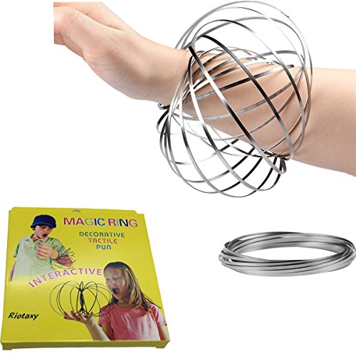 Amazing Magic Flow Rings Kinetic Educational Spring Toy Funny Outdoor Game Intelligent Relax 3D Kinetic Ring Spring Bracelet Stainless Metal Galactic Globe Toy Fit for Kids Boys Girl Adults (Silver)