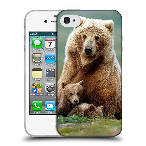 Just Phone Cases Coque de Protection TPU Silicone Case pour // V00004079 Ours mère avec ses petits // Apple iPhone 4 4S 4G