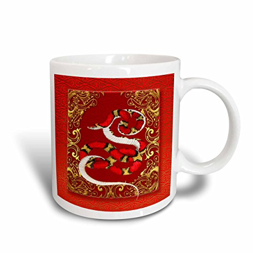 White Gold Snake Chinese (3dRose mug_101845_1 Chinese Zodiac Year of The Snake Chinese New Year Red, Gold and Black Ceramic Mug, 11-Ounce)