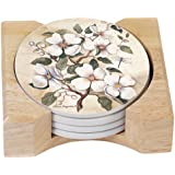 CounterArt Dogwood Design Round Absorbent Coasters in Wooden Holder, Set of 4