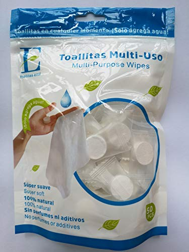 - Emil Toallitas 100% Natural Compressed Multi-Purpose Towels/Wipes, Each Pill Individually Packed