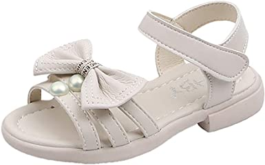 Summer Children Infant Kids Baby Girl Bow Pearl Princess Thong Sandals Shoes US