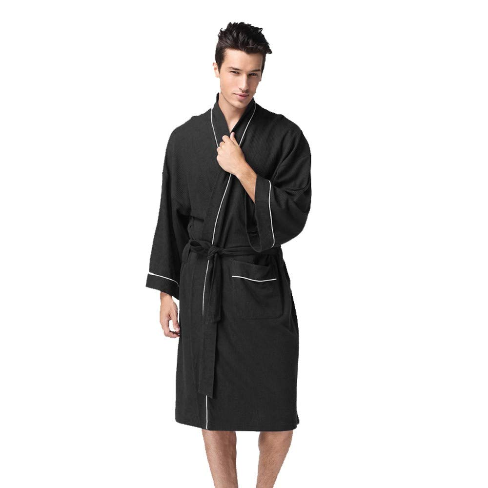 PASATO 2018 Sale!Men Home Service Winter Lengthened Coralline Plush Shawl Bathrobe Long Sleeve Robe Tops Coat