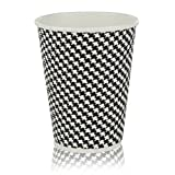 Quality Disposable Hot Coffee Insulated Cups By Golden Spoon - 50 Pack Set Complete - Stylish Contemporary Ripple Design - Perfect For Take Away Coffee Shops And Bars (12 oz, Checkered Design)