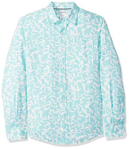 Amazon Essentials Herren-Leinenshirt, Langarm-Shirt, schmale Passform, gestreift