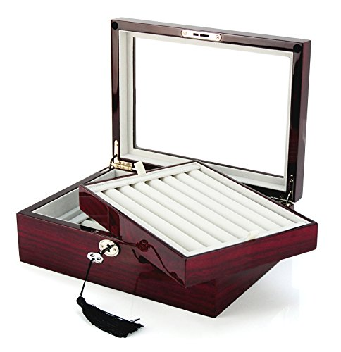 Deluxe Jewelry Cufflinks Collector's Storage Presentation Box Case Mahogany Double-Decker - Case Collectors Cufflinks