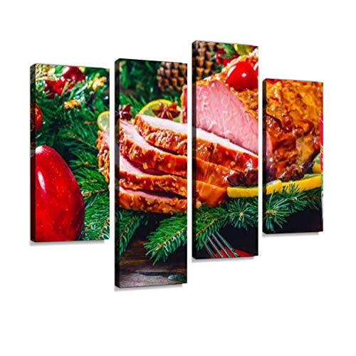 Christmas Table Dinner time with Roasted Meats.Beautiful Delicious Food Canvas Wall Art Hanging Paintings Modern Artwork Abstract Picture Prints Home Decoration Gift Unique Designed Framed 4 Panel