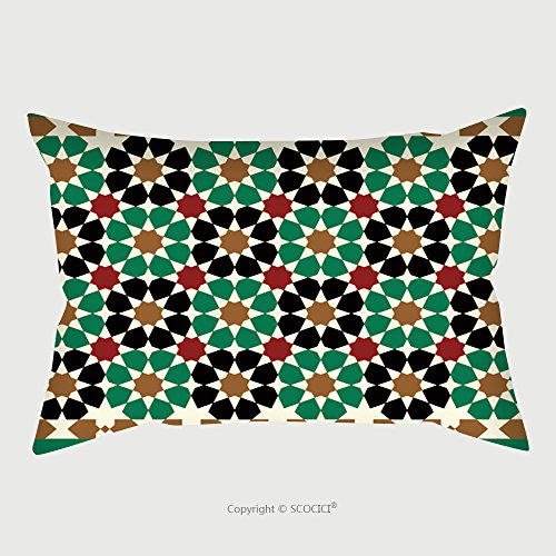 Custom Satin Pillowcase Protector Morocco Seamless Border Traditional Islamic Design Mosque Decoration Element 463498751 Pillow Case Covers Decorative by chaoran