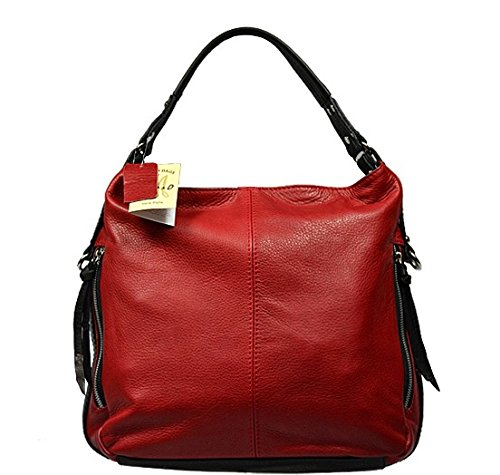 Attractive practical leather red handbag Gemma Rossa Nera over shoulder
