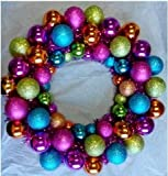 """16"""" Mardi Gras Ball Wreath - Product Description - 16"""" Mardi Gras Ball Wreath With Battery Powered Pure White Leedsthis Expertly Crafted 16"""" Battery Powered Ball Wreath Consists Of 56 Multi-Colored Plastic Shatterproof Ball Ornaments Intertwined ..."""