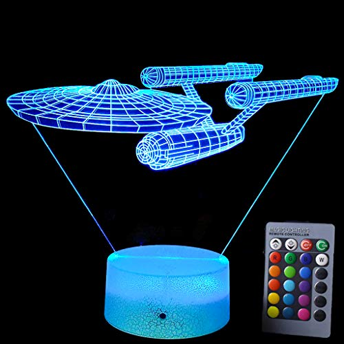 Lmeison Night Lights for Kids 3D Night Light Bedside Lamp with Smart Touch & Remote Control 16 Colors Change Room Decor Best Gift for Kids, Friends, Birthdays, Holidays(Star Trek Warships) (Trek Uniform Star 3x)